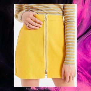 UO BDG Zip Down Yellow Denim Skirt